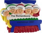 Christmas Morning Family of 5 Christmas Ornament Personalized by Russell Rhodes