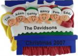 Christmas Morning Family of 6 Christmas Ornament Personalized by Russell Rhodes