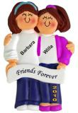Both Brunette, Friends Christmas Ornament Personalized by Russell Rhodes