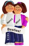Besties Forever, Both Brunette Christmas Ornament Personalized by Russell Rhodes
