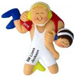 Blonde Male Wrestling Christmas Ornament Personalized by Russell Rhodes
