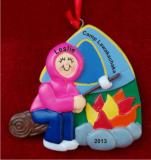 Camping Bliss: Girl with Fire & Marshmallow Christmas Ornament Personalized by Russell Rhodes