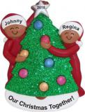 Couple Decorating Tree African American Christmas Ornament Personalized by Russell Rhodes