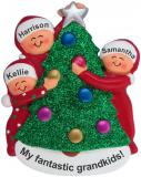 Personalized 3 Grandkids Xmas Tree Christmas Ornament by Russell Rhodes