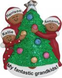 My Fantastic 3 Grandkids African American Decorating Tree Christmas Ornament Personalized by Russell Rhodes