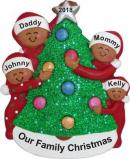 Family Decorating Tree 4 African American Christmas Ornament Personalized by Russell Rhodes