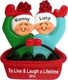 Adventures in Sledding - Couple Christmas Ornament Personalized by Russell Rhodes