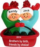 Adventures in Sledding Brothers Christmas Ornament Personalized by Russell Rhodes