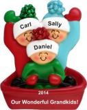 Adventures in Sledding 3 Grandkids Christmas Ornament Personalized by Russell Rhodes