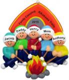 Camping Family of 5 Christmas Ornament Personalized by Russell Rhodes