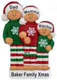Our Comfy Pajamas Family of 3 Christmas Ornament Personalized by Russell Rhodes