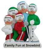 Holiday Ski Adventure Family of 5 Christmas Ornament Personalized by Russell Rhodes
