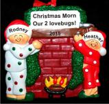 Christmas Morn Fireplace 2 Children Christmas Ornament Personalized by Russell Rhodes