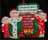 Our Warm Fireplace Together 3 Kids Christmas Ornament Personalized by Russell Rhodes