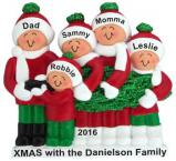 Buying Our Family Tree Family of 5 Christmas Ornament Personalized by Russell Rhodes