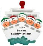 Cruisin' Family of 5 Out to Sea Christmas Ornament Personalized by Russell Rhodes