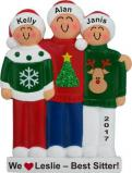 3 Kids Holiday Sweaters Baby Sitter Gift Christmas Ornament Personalized by Russell Rhodes