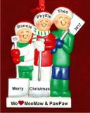 3 Grandkids White Xmas Love for Grandparent(s) Christmas Ornament Personalized by Russell Rhodes