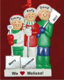 3 Kids White Xmas Baby Sitter Gift Christmas Ornament Personalized by Russell Rhodes