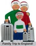 Traveling Family of 3 Christmas Ornament Personalized by Russell Rhodes