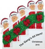 Festive Holiday Banister for Family of 5 Christmas Ornament Personalized by Russell Rhodes