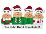 So Cute Our 4 Grandkids Christmas Ornament Personalized by Russell Rhodes