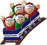 Roller Coaster All Aboard for Family of 4 Christmas Ornament Personalized by Russell Rhodes