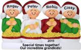 Stringing Popcorn 4 Grandkids Christmas Ornament Personalized by Russell Rhodes