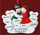 Surrounded by Love 8 Hearts Christmas Ornament Personalized by Russell Rhodes