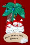 Snow Family Palm Tree 3 Christmas Ornament Personalized by Russell Rhodes