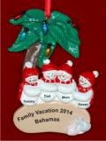 Snow Family Palm Tree 4 Christmas Ornament Personalized by Russell Rhodes