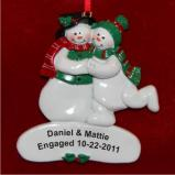 Engaged Snow Couple Christmas Ornament Personalized by Russell Rhodes