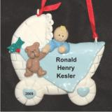 Baby Buggy Boy Blonde Christmas Ornament Personalized by Russell Rhodes
