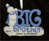Snowman Celebrates Big Brother Christmas Ornament Personalized by Russell Rhodes