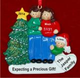 Excited & Expecting Couple 1 kid both Brown Christmas Ornament Personalized by Russell Rhodes
