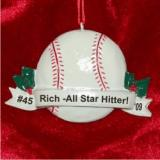 Baseball Christmas Ornament Personalized by Russell Rhodes