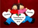 The Best of Friends Forever Both Brunette Christmas Ornament Personalized by Russell Rhodes