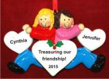 The Best of Friends Forever Blond & Brunette Christmas Ornament Personalized by Russell Rhodes