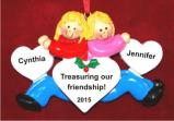 The Best of Friends Forever Both Blond Christmas Ornament Personalized by Russell Rhodes