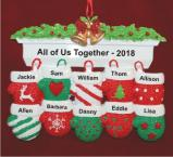 Festive Mittens for 10 Personalized Christmas Ornament Personalized by Russell Rhodes