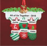 Festive Mittens for 6 Personalized Christmas Ornament Personalized by Russell Rhodes