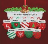 Festive Mittens for 9 Personalized Christmas Ornament Personalized by Russell Rhodes