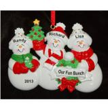 My Xmas Fun Bunch 3 Grandkids Christmas Ornament Personalized by Russell Rhodes