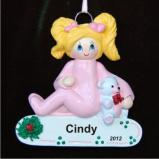 Blond Girl Toddler Christmas Ornament Personalized by Russell Rhodes