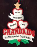 3 Grandkids - Loving Hearts at Christmas Christmas Ornament Personalized by Russell Rhodes
