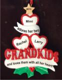 2 Grandkids - Loving Hearts with Grandma Christmas Ornament Personalized by Russell Rhodes