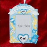 Baby's 1st Christmas Loving Hearts Photo Frame, Blue Christmas Ornament Personalized by Russell Rhodes