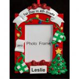 4th Grade Picture Frame Christmas Ornament Personalized by Russell Rhodes