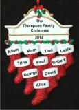 Stockings Hung with Care Family of 10 Christmas Ornament Personalized by Russell Rhodes