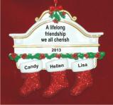 Three Friends for Life Christmas Ornament Personalized by Russell Rhodes